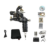 cheap Starter Tattoo Kits-Tattoo Machine Kit 1 Cast Iron Machine Liner & Shader 10 Tattoo Needles RL3