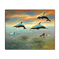 Hand Painted Delphinus  Painting with Stretched Frame Ready to Hang