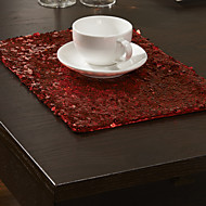 Set of 4 Modern Red paljetit Placemats