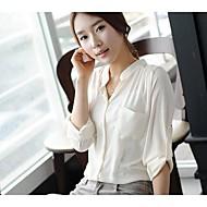 Mulheres Camisa Casual Simples / Moda de Rua Todas as Estações,Sólido Rosa / Branco Decote V Fina