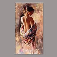 billiga Människomålningar-Hang målad oljemålning HANDMÅLAD - Människor Klassisk Traditionell Inkludera innerram / Sträckt kanfas