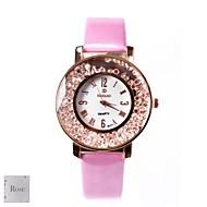 billige Personaliserte klokker-Personlig gave kvinner White Dial Pink PU Band Analog Inngravert Watch med Rhinestone