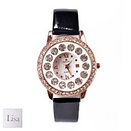 cheap Personalized Watches-Personalized Gift Women's White Dial Black PU Band Analog Engraved Watch with Rhinestone