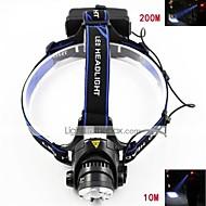 3 ヘッドランプ ヘッドライト LED 700-900 lm 3 モード Cree XM-L T6 焦点調整可 充電式 防水 ストライクベゼル ズーム可能 のために キャンプ/ハイキング/ケイビング サイクリング 狩猟 旅行 登山 2 x 18650電池 ブラック