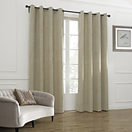 billige Gardiner og draperinger-To paneler Window Treatment Neoklassisk , Solid Stue Lin/ Polyester Blanding Materiale gardiner gardiner Hjem Dekor For Vindu