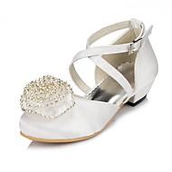 billige -0.6-Jente sko Sateng Vår Høst Komfort Flate sko Satengblomst Blomst til Bryllup Elfenben Hvit