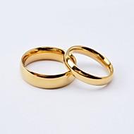 Dame Parringe Band Ring - Titanium Stål, Guldbelagt Kærlighed minimalistisk stil, Mode 5 / 6 / 7 / 8 / 9 Sort / Gylden Til Bryllup Jubilæum Forlovelse