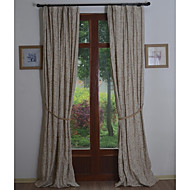 Rod Pocket Grommet Top Tab Top Double Pleat Two Panels Curtain Country Neoclassical Rococo Baroque European , Embroidery Living Room