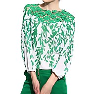 婦人向け カジュアル/普段着 オールシーズン ブラウス,シンプル フラワー グリーン ポリエステル 長袖 薄手