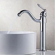 저렴한 욕실 싱크 수전-욕실 싱크 수도꼭지 - 회전가능 크롬 주방,욕조수전(Centerset) 홀 한개 싱글 핸들 하나의 구멍