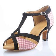Kan spesialtilpasses-Dame-Dansesko-Latinamerikansk Ballett-Velourisert Glimtende Glitter-Kustomisert hæl-Rosa