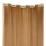 5 Klipsli Saç Uzantıları 20 Inch 50g Uzun Sentetik Düz Klip - 12 Renkler
