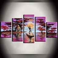 billiga Blom-/växtmålningar-HANDMÅLAD Landskap vilken form som helst Duk Hang målad oljemålning Hem-dekoration Fem paneler
