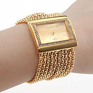 Kadın's Bilezik Saat Moda Saat Japonca Quartz Taşlı imitasyon Pırlanta Bakır Bant Lüks Işıltılı Zarif Altın Rengi