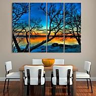 cheap Stretched Canvas Prints-Stretched Canvas Print Canvas Set Landscape Botanical Four Panels Vertical Print Wall Decor Home Decoration