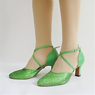cheap -Women's Modern Shoes Paillette High Heel Sequin Chunky Heel Non Customizable Dance Shoes Green