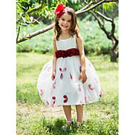 Plesové šaty K lýtkům Šaty pro květinovou družičku - Polyester Kopeček / Čtvercový s Mašle / Květina(y) / Šerpa / Stuha
