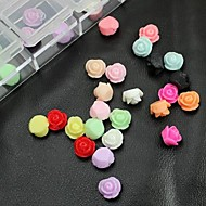 100PCS Mix Color Resin Rose Flower Accessories Not Include Box 3D Nail Art Decoration