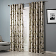 billige Gardiner-Stanglomme Propp Topp Fane Top Dobbelt Plissert To paneler Window Treatment Land , Trykk Blad Soverom Polyester Materiale gardiner