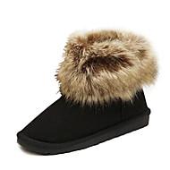 Χαμηλού Κόστους Μοδάτες Μπότες-Γυναικεία παπούτσια - Μπότες - Καθημερινά - Επίπεδο Τακούνι - Μπότες για Χιόνι / Στρογγυλή Μύτη - Σουέτ / Φο Γούνα -Μαύρο / Ταμπά /