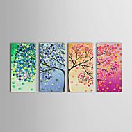 billiga Blom-/växtmålningar-HANDMÅLAD Blommig/Botanisk Horisontell Panoramautsikt, Klassisk Traditionell Hang målad oljemålning Hem-dekoration Fyra paneler