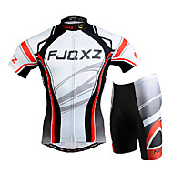 FJQXZ Men's Short Sleeves Cycling Jersey with Shorts - White Bike Clothing Suits, 3D Pad, Quick Dry, Ultraviolet Resistant, Breathable,