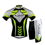cheap -FJQXZ Men's Short Sleeve Cycling Jersey with Shorts - Silver / Black Bike Clothing Suit, Windproof, Breathable, 3D Pad, Quick Dry, Ultraviolet Resistant Mesh Lines / Waves