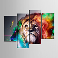 cheap Prints-Stretched Canvas Print Art Animal Lion Set of 4