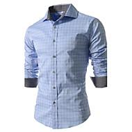 Klassisk krave Tynd Herre - Ternet Bomuld, Trykt mønster Forretning / Afslappet Arbejde Plusstørrelser Skjorte / Langærmet