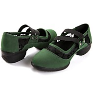 baratos Sapatilhas de Dança-Mulheres Tênis de Dança Camurça Têni Sem Salto Não Personalizável Sapatos de Dança Preto / Vermelho / Verde