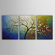 baratos -Pintados à mão Floral/Botânico 3 Painéis Tela Pintura a Óleo For Decoração para casa