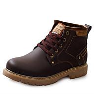 Homens sapatos Couro Inverno Outono Conforto Botas Botas Curtas / Ankle Cadarço para Casual Escritório e Carreira Preto Marrom