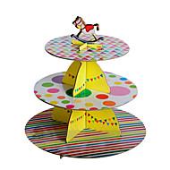 三層カラフルストリップ&カルーセルトッパーのドットケーキスタンド