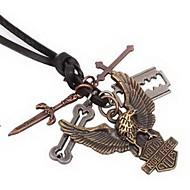 Pánské Náhrdelníky s přívěšky Kožené Slitina Cross Shape Šperky Jedinečný design Módní Šperky Denní Ležérní 1ks