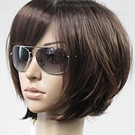 Women Synthetic Wig Short Straight Brown Bob Haircut With Bangs Natural Wigs Costume Wig
