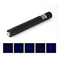 lt-08889 multi-head blauwe laser pointer (5 MW, 450nm, 2x16340, zwart)