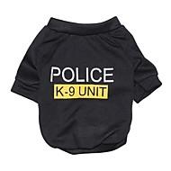 Gato Cachorro Camiseta Roupas para Cães Fashion Carta e Número Polícia / Militar Preto