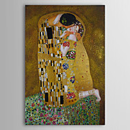 Oil Paintings Kiss by Gustav Klimt  Hand-painted Canvas with Gold Foil Ready to Hang