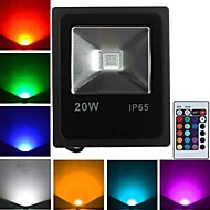 baratos Focos-JIAWEN 1pç 20 W 1600 lm 1 Contas LED LED de Alta Potência Controle Remoto RGB 85-265 V