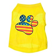 Cat Dog Shirt / T-Shirt Dog Clothes American / USA Yellow Cotton Costume For Spring &  Fall