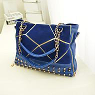 baratos Bolsas Tote-Mulheres Bolsas PU Tote / Bolsa Carteiro / Bolsa de Ombro Tachas Preto / Vermelho / Azul