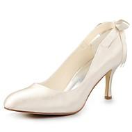 cheap Women's Shoes-Women's Fall Satin Wedding Stiletto Heel Ribbon Tie Black Blue Yellow Pink Purple Red Ivory White Silver Champagne