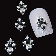 저렴한 -10 개입 3 차원 검정 모조 다이아몬드 꽃 DIY 액세서리 합금 네일 아트 장식
