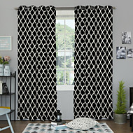 billige Gardiner-Stanglomme Propp Topp Fane Top To paneler Window Treatment Designer, Trykk Soverom Polyester Materiale gardiner gardiner Hjem Dekor