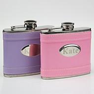 εξατομικευμένο δώρο ροζ / δερμάτινα 5 ουγκιές φιάλη μοβ καμπύλη