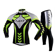 FJQXZ สำหรับผู้ชาย แขนยาว Cycling Jersey with Tights - สีเขียว สลับ จักรยาน ถุงน่องการขี่จักรยาน ชุดเสื้อผ้า ระบายอากาศ 3D Pad แห้งเร็ว Ultraviolet Resistant กีฬา เส้นใยสังเคราะห์ ตารางไขว้ สลับ