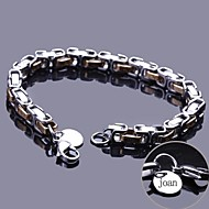 cheap Customized Apparel Accessories-Personalized Gift Chain Bracelet Stainless Steel Engraved Jewelry