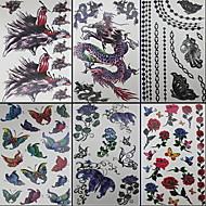 6 шт бабочки и дракона смешанной временную татуировку