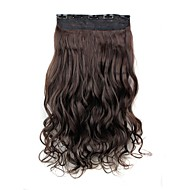 24 Inch 120g Long Dark Brown Heat Resistant Synthetic Fiber Curly Clip In Hair Extensions with 5 Clips