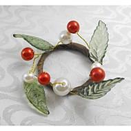 roșu fructe Crăciun inel perla servetel de Crăciun, acrilic, 1.77inch, set de 12